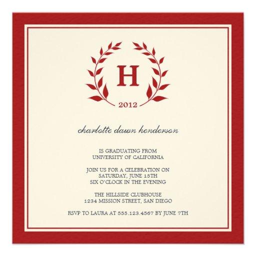 Invitación roja de la clase de la graduación del m