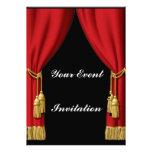 Invitación roja de la cortina