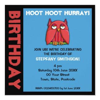 Invitación roja de la fiesta de cumpleaños de la invitación 13,3 cm x 13,3cm