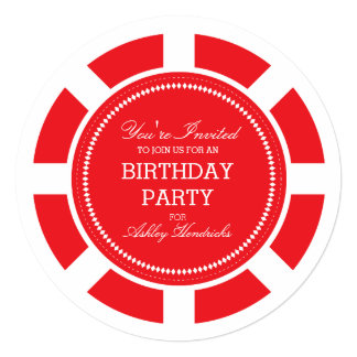 Invitación roja de la fiesta de cumpleaños de la