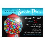 Invitación roja de la fiesta de cumpleaños de la a