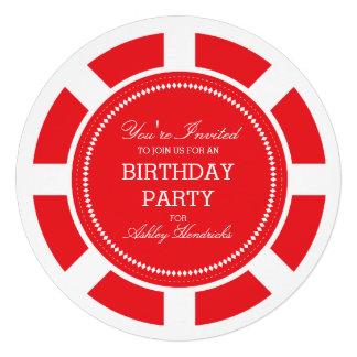 Invitación roja de la fiesta de cumpleaños de la f