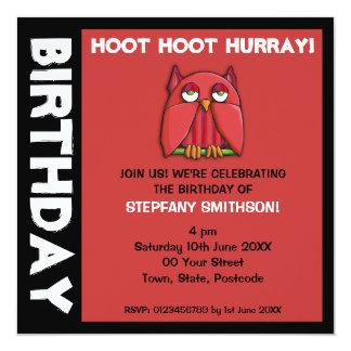 Invitación roja de la fiesta de cumpleaños del invitación 13,3 cm x 13,3cm