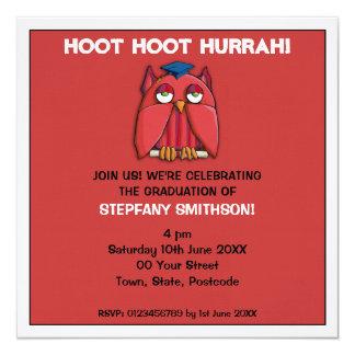 Invitación roja de la fiesta de graduación 2 del invitación 13,3 cm x 13,3cm