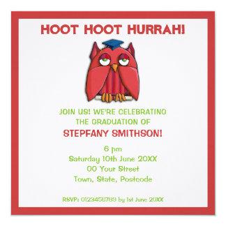 Invitación roja de la fiesta de graduación 3 del invitación 13,3 cm x 13,3cm
