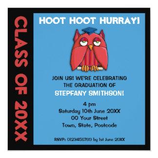Invitación roja de la fiesta de graduación de la invitación 13,3 cm x 13,3cm