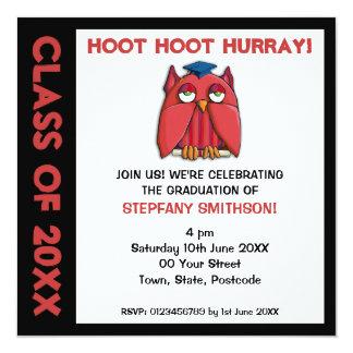 Invitación roja de la fiesta de graduación del invitación 13,3 cm x 13,3cm