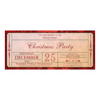Invitación roja de la fiesta de Navidad Invitación 10,1 X 23,5 Cm