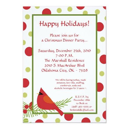 invitación roja de la fiesta de Navidad del acebo