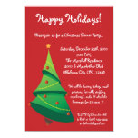 invitación roja de la fiesta de Navidad del árbol