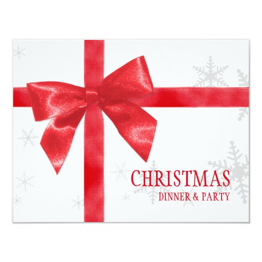 Invitación roja de la fiesta de Navidad del arco