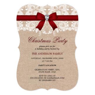 Invitación roja de la fiesta de Navidad del cordón