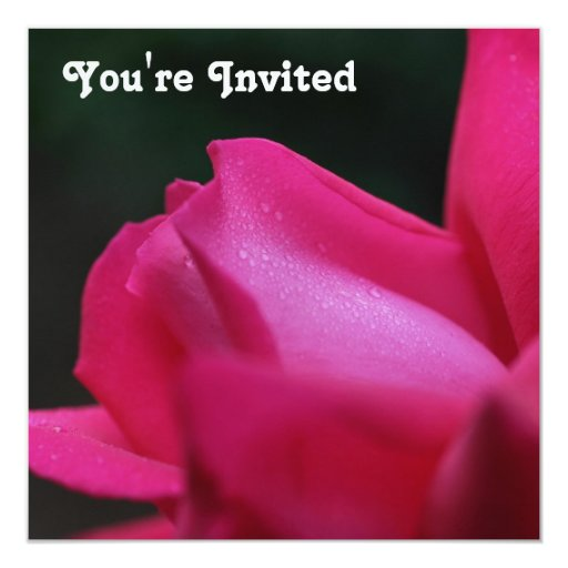 Invitación roja de la flor del capullo de rosa invitación 13,3 cm x 13,3cm