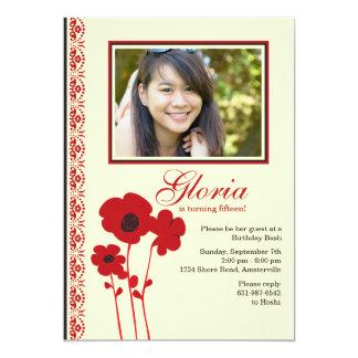 Invitación roja de la foto de tres amapolas invitación 12,7 x 17,8 cm