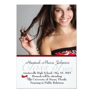 Invitación roja de la foto del graduado de la invitación 12,7 x 17,8 cm