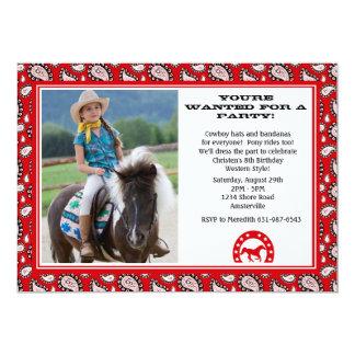 Invitación roja de la foto del pañuelo del vaquero invitación 12,7 x 17,8 cm