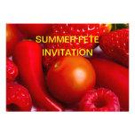 Invitación roja de la fruta y de las verduras