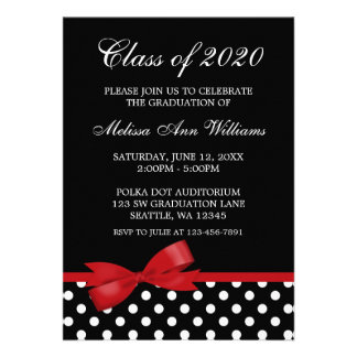 Invitación roja de la graduación de los lunares de
