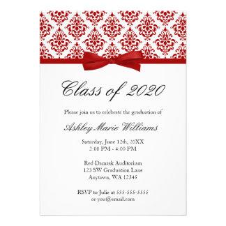 Invitación roja de la graduación del arco del dama