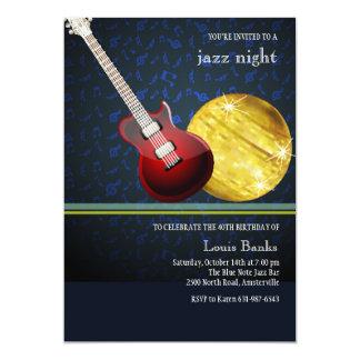 Invitación roja de la guitarra
