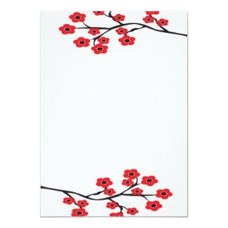 Invitación roja de las flores de cerezo