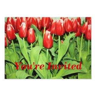 Invitación roja de los tulipanes