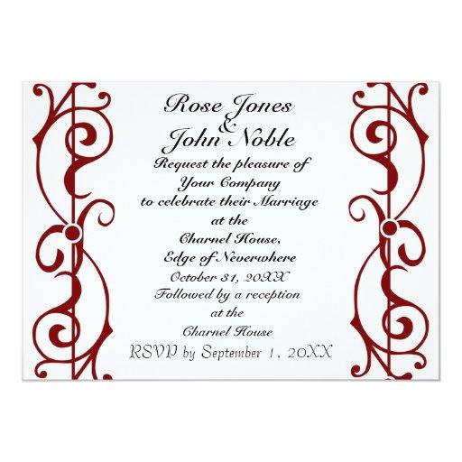 Invitación (roja) de marfil del boda de la