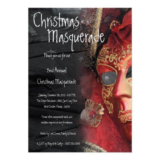 invitación roja de Navidad del navidad de la masca
