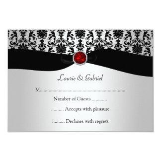Invitación roja de RSVP de la joya del damasco de Invitación 8,9 X 12,7 Cm