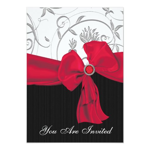 Invitación roja de rubíes de la cena del ensayo