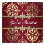 Invitación roja de rubíes del fiesta del damasco