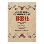 Invitación roja del Bbq del día de padre atado con