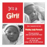 Invitación roja del bebé con las imágenes