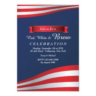 Invitación roja, del blanco y del Brew