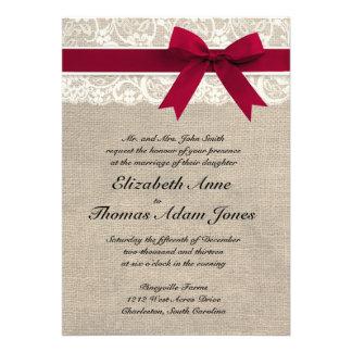 Invitación roja del boda de la arpillera de la cin