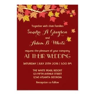 Invitación roja del boda de la caída de las hojas