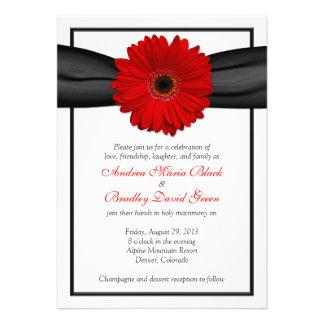 Invitación roja del boda de la cinta del negro de