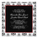 Invitación roja del boda de la foto del damasco