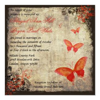 Invitación roja del boda de la mariposa del