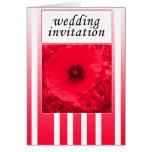 invitación roja del boda de la tira de la amapola tarjeta de felicitación