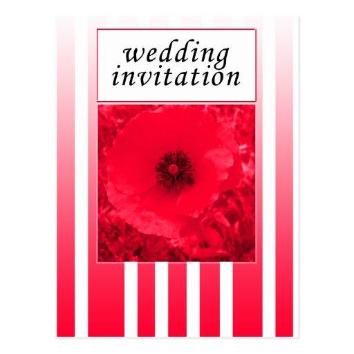 invitación roja del boda de la tira de la amapola postal