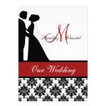 Invitación roja del boda de los pares del boda
