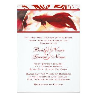 Invitación roja del boda de los pescados de Betta