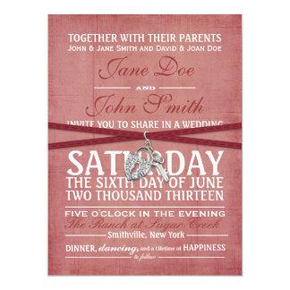 Invitación roja del boda de papel del vintage