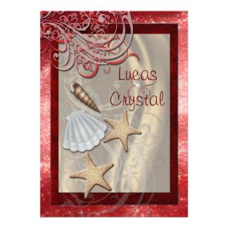 Invitación roja del boda de playa del Seashell bri