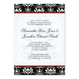 Invitación roja del boda del acento del damasco