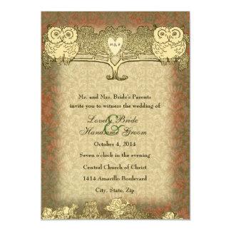 Invitación roja del boda del búho del vintage del