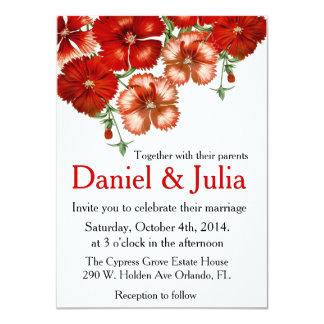 Invitación roja del boda del clavel