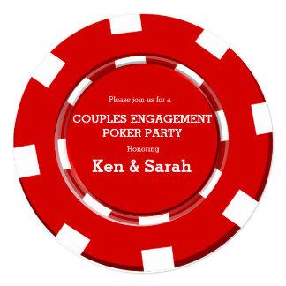 Invitación roja del boda del compromiso del