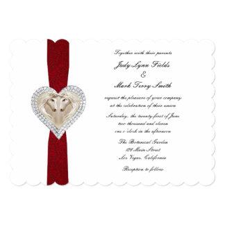 Invitación roja del boda del cordón del unicornio